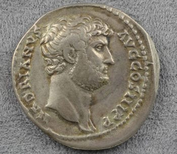 Silver coin of the emperor Hadrian, dated 119 CE.