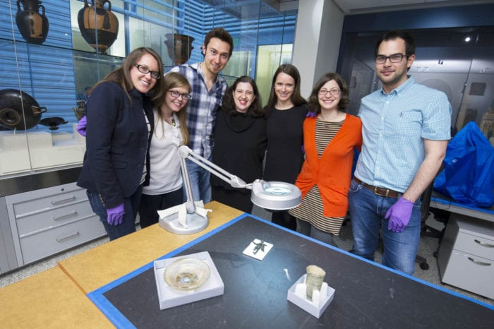 """The students and faculty of the """"Roman House at Hopkins"""".  From left, Nicole Berlin, Laura Hutchison, Adam Tabeling, Herica Valladares, Marden Nichols, Betsy Bevis and Michele Asuni.  Not pictured, Laura Garofalo."""