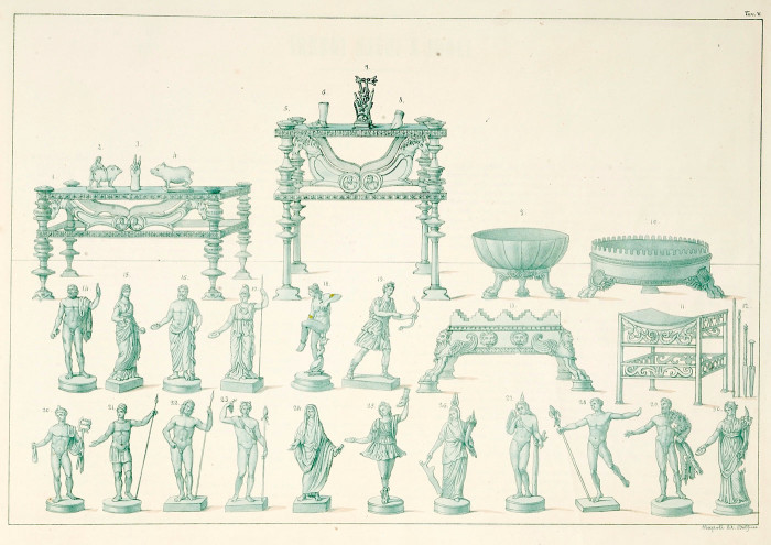 Nineteenth century illustration of bronze religious objects from the Bay of Naples. Please note the Hand of Sabazius (7), the Lar statuette (25), the Hercules statuette (29) and the Harpokrates-Cupid statuette (27). Ceci, Carlo. 1854. Piccolo Bronzi del Real Museo Borbonico: Distinti per Categorie in Dieci Tavole, Descriti e Disegnati. Naples: Stamperia di Salvatore Piscopo, Museo  Nazionale di Napoli. Plate V.