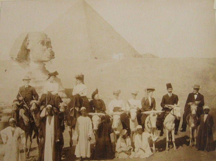 American Methodist Missionary Observers in Egypt, by Ibrahim H. Khoury, dated 15 November 1906, near the Giza Pyramids.  Dr. Goucher is at far right. Photograph in the Rev. John Franklin Goucher Papers.  Image courtesy of the United Methodist Historical Society, Lovely Lane Museum, Baltimore.