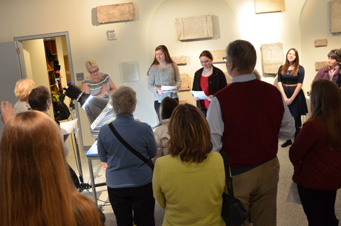 Elisabeth Campbell, Amanda Witherspoon and Anna Gorman (left to right) discuss an inscription at a Museum Chat in February 2014.