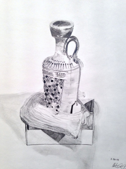 Drawing of an object from the museum collection by JHU undergraduate christina kiriakos