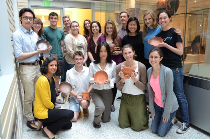 "The collaborative team in the course ""Recreating Ancient Greek Ceramics."""