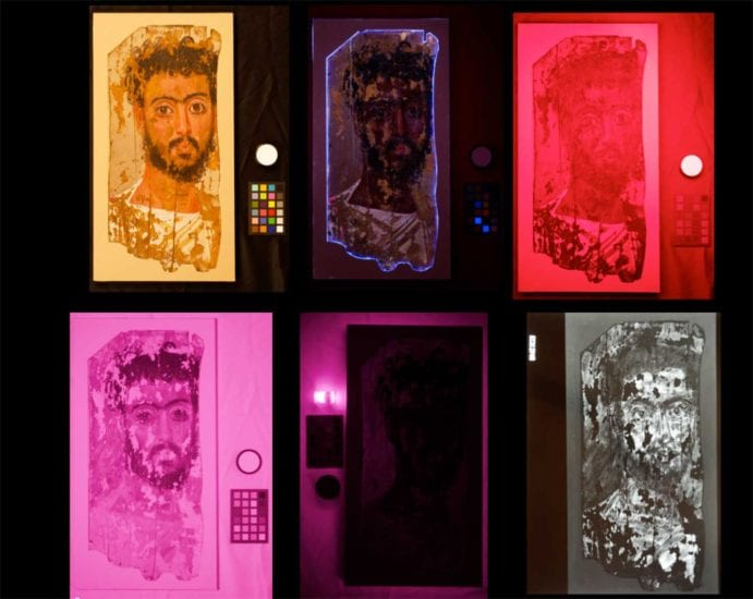Multispectral Imaging of Portrait of a Man.  Images clockwise from top left: Captured in VIS, UVL, UVR, IRR, VIL and X-ray.