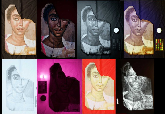 MSI Images for the Portrait of the Young Man.  Clockwise from upper left: VIS, UVL, UVR, UVFC, IRR, VIL, IRFC, and X-ray.