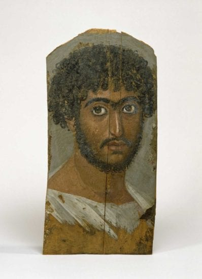 Portrait of a Bearded Man (Walters Art Museum 32.6).  The purple particle was removed from the purple stripe on the far right side of this man's tunic.  Image courtesy of the Walters Art Museum.