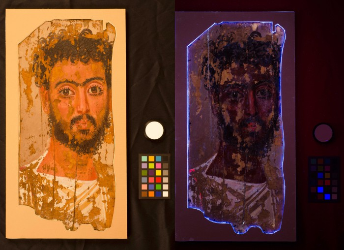 The pigment madder lake appears a bright rosy red in ultraviolet light induced luminescence (UVL).  You can see that his nose, cheeks, eyes, and garment were all painted with it.  The blue glow around the portrait comes from the modern optical brighteners in the paper board frame that the portrait is glued into.