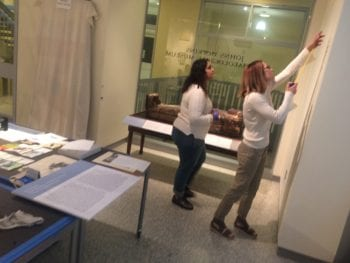 Thaara Sankar and designer Cathy Schaefer during the installation of the exhibition