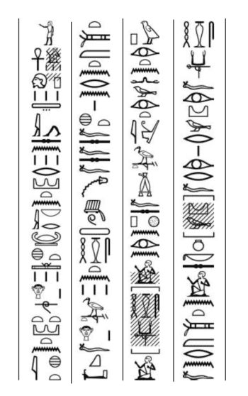 Excerpt from the speech of Thothrekh, son of Petosiris. From the tomb of Petosiris at Tuna el-Gebel, door of the pronaos, ca. 300 BCE. Hieroglyphic transcription after M. Gustave Lafebvre, Le tombeau de Petosiris (Le Caire: Institut Français d'Archéologie Orientale, 1924), pg. 27, no. 56 and Nadine Cherpion, Jean-Pierre Corteggiani, and Jean-François Gout, Le tombeau de Pétosiris à Touna el-Gebel: relevé photographique. Bibliothèque générale 27. (Le Caire: Institut français d'archéologie orientale, 2007), pg. 80, scene 64.