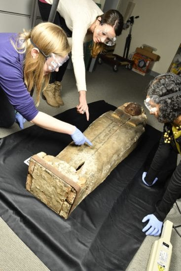 Imaging the coffin with (L to R) Ashley Fuitko Arico, Meg Swaney and Sanchita Balachandran.