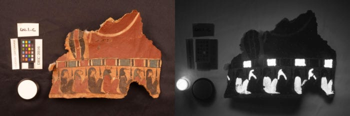 A fragment of cartonnage in visible light (L) and in visible infrared luminescence (R); the glowing areas are painted with Egyptian blue.