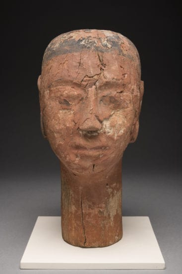 Head, possibly a wig stand, ECM 1724; Wood, Paint; H 31.5 cm x W 21.0 cm