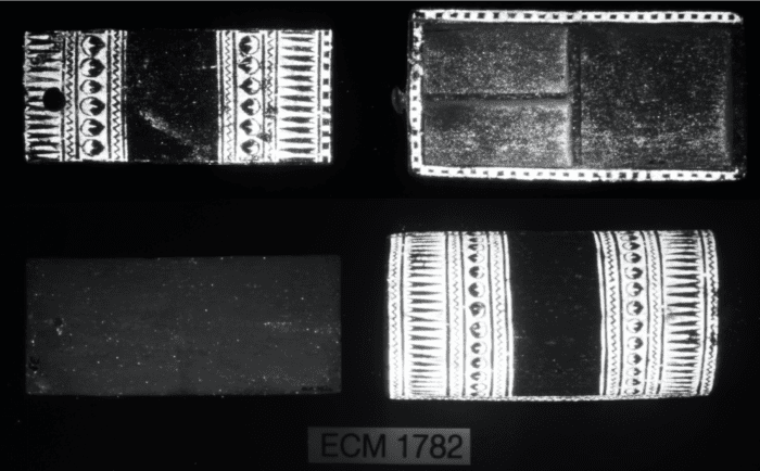 Visible infrared luminescence imaging showing the the glowing presence of Egyptian blue pigment.