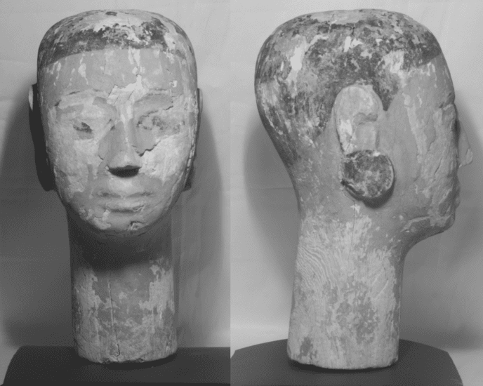 Infrared reflectography shows the extent to which the object was painted with carbon black, which appears dark in these images.