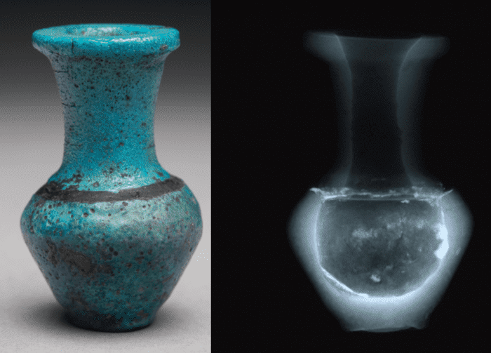 Vessel, ECM 453, H 4.4 cm x D 2.8 cm alongside its x-ray which shows that it is composed of two different objects adhered together in modern times.