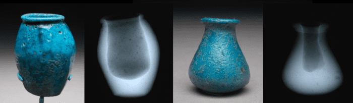 Jar, ECM 429, H 5.2 cm x D 3.8 cm and Vessel, ECM 549, L 2.7 cm x W 2.8 cm x H 3.3 cm with their corresponding x-rays.