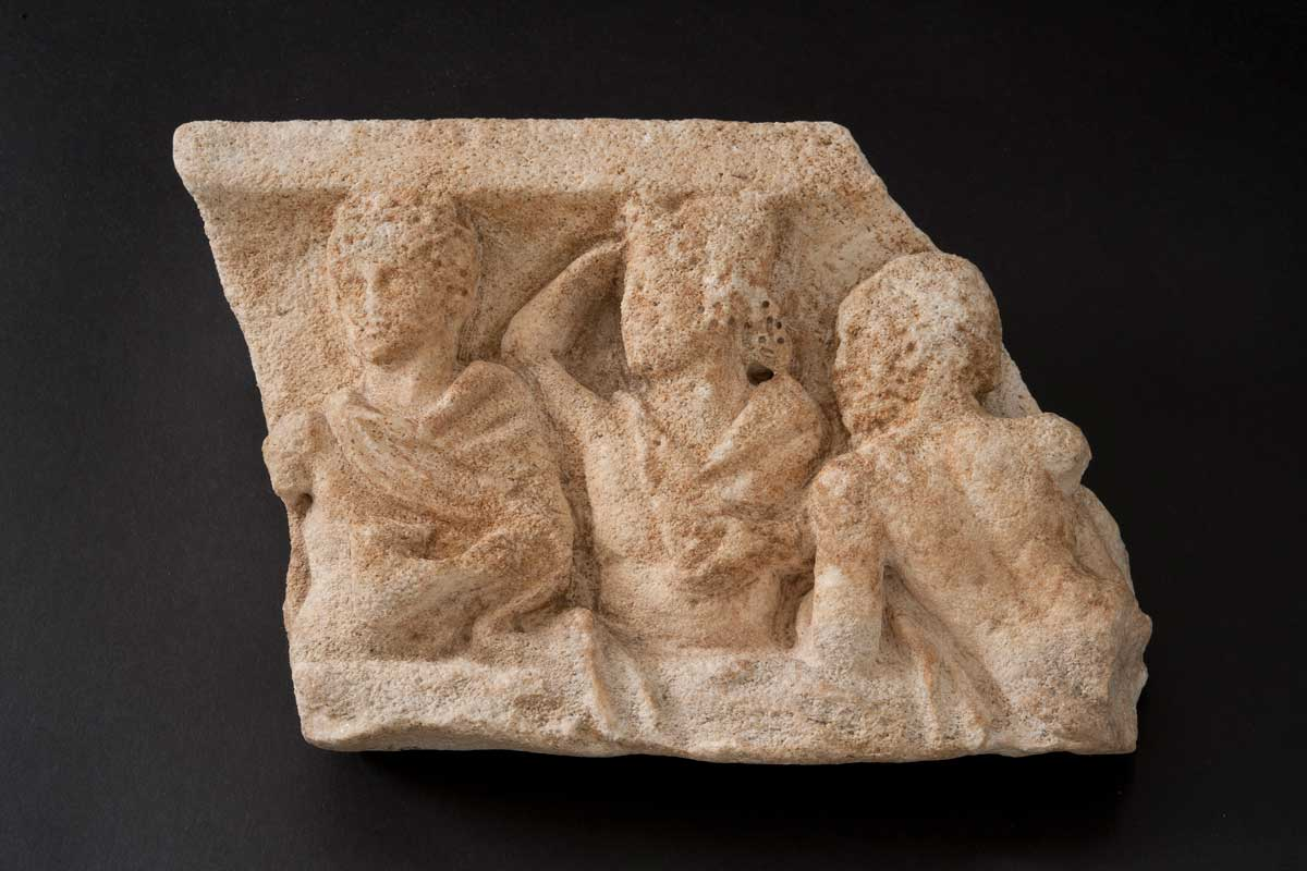 Marble Relief of Three Diners
